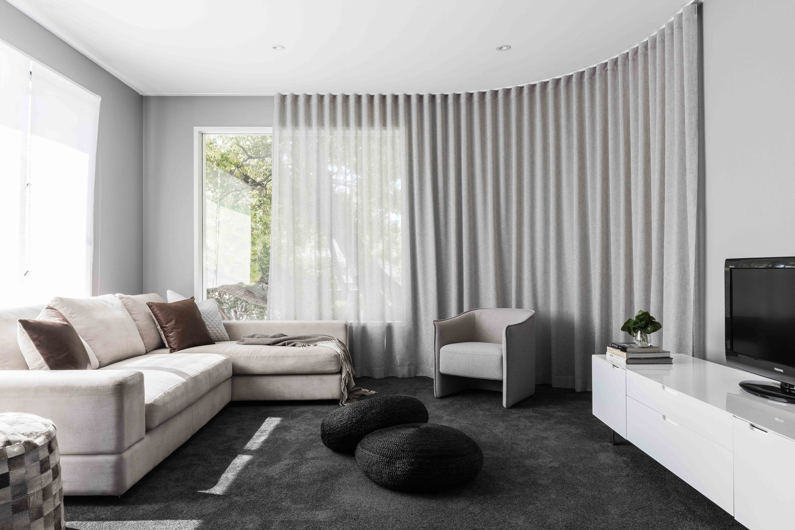 Tagged: Living Room, Chair, Sofa, and Ottomans.  The Rose Bay House by Prebuilt