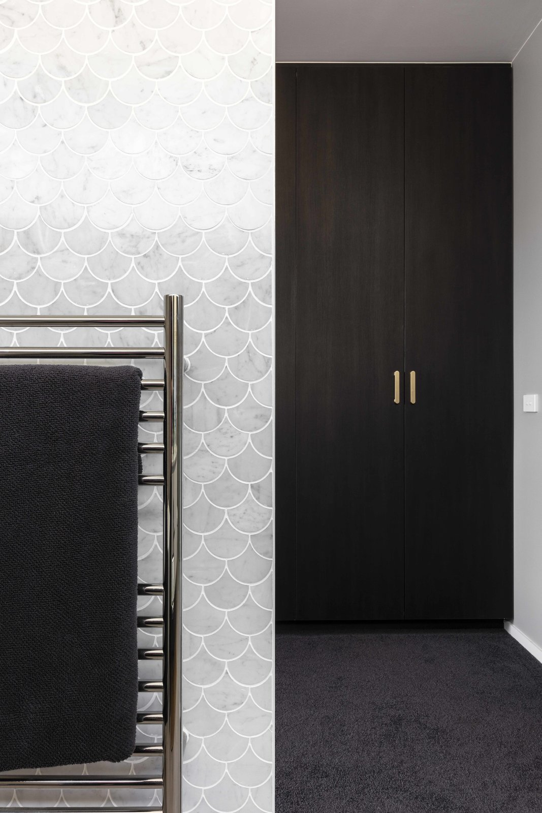 Tagged: Bath Room and Stone Tile Wall.  The Rose Bay House by Prebuilt