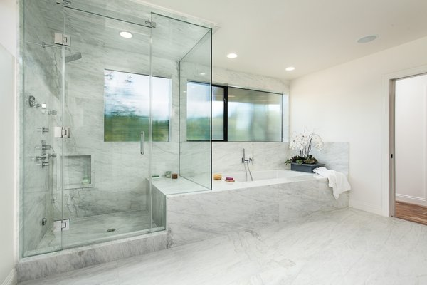 Modern home with marble counter, stone counter, undermount tub, recessed lighting, open shower, marble wall, corner shower, undermount sink, two piece toilet, stone slab wall, windows, casement window type, and metal. Bathroom shower and tub Photo 4 of Bowling Green Residence