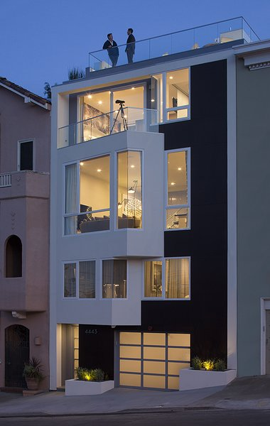 Modern home with outdoor, front yard, and landscape lighting. Photo 13 of LEED Platinum House in SF