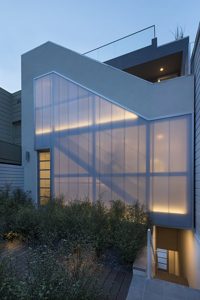 Modern home with outdoor, back yard, shrubs, hardscapes, and landscape lighting. Photo 14 of LEED Platinum House in SF