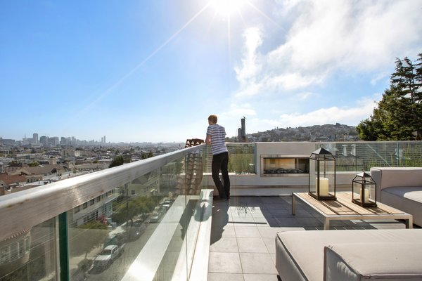 Modern home with outdoor, tile patio, porch, deck, rooftop, and large patio, porch, deck. Photo 5 of LEED Platinum House in SF