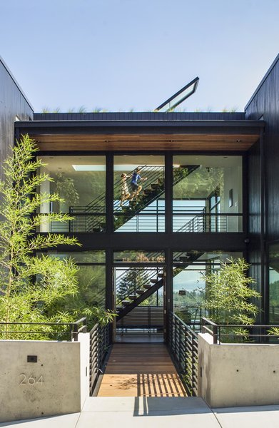 Modern home with outdoor, front yard, shrubs, grass, trees, hardscapes, and small patio, porch, deck. Entry Bridge Photo 2 of Music Box Residence
