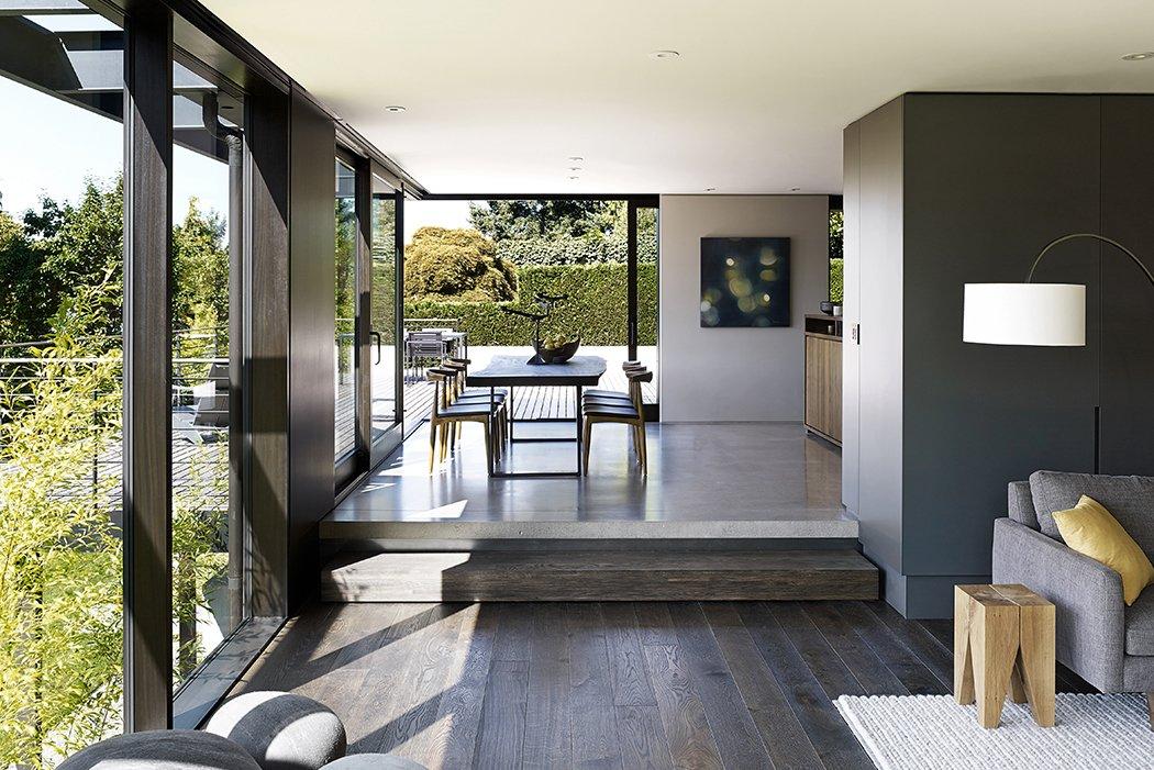 Laurelhurst Residence Tagged: Living Room and Dark Hardwood Floor.  Quantum Clad Windows & Doors by Quantum Windows & Doors