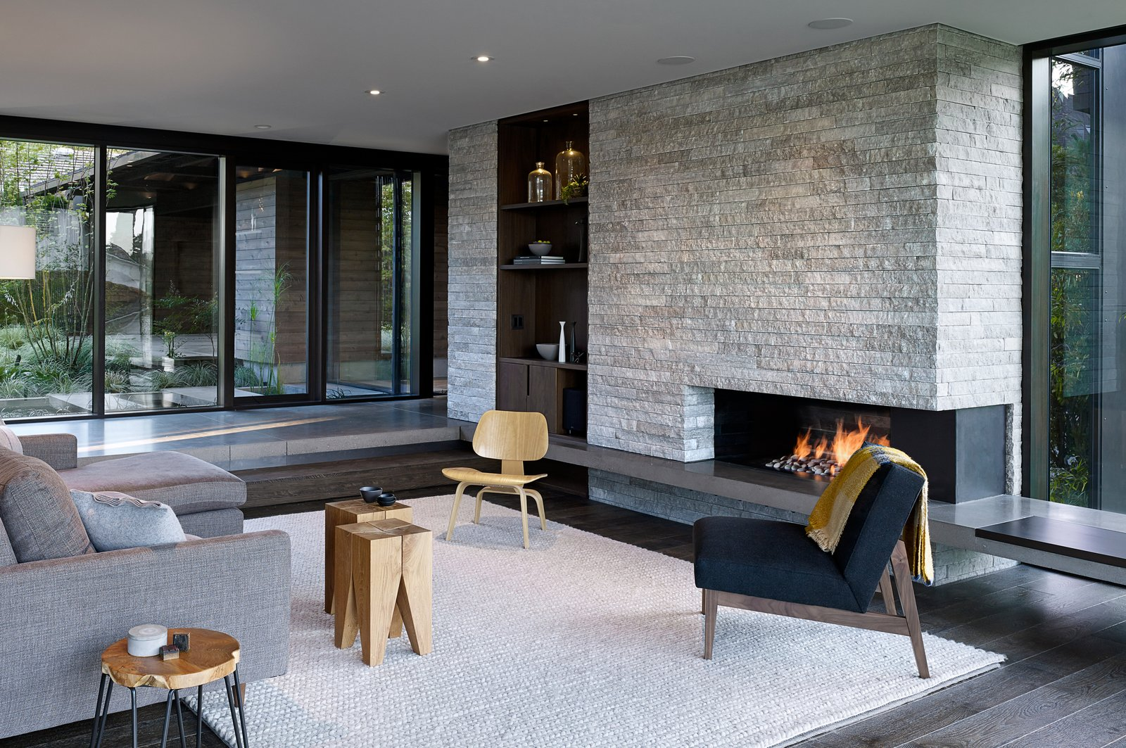 Laurelhurst Residence Tagged: Living Room, Chair, Ceiling Lighting, Standard Layout Fireplace, Stools, and Recessed Lighting.  Laurelhurst Residence by mw works