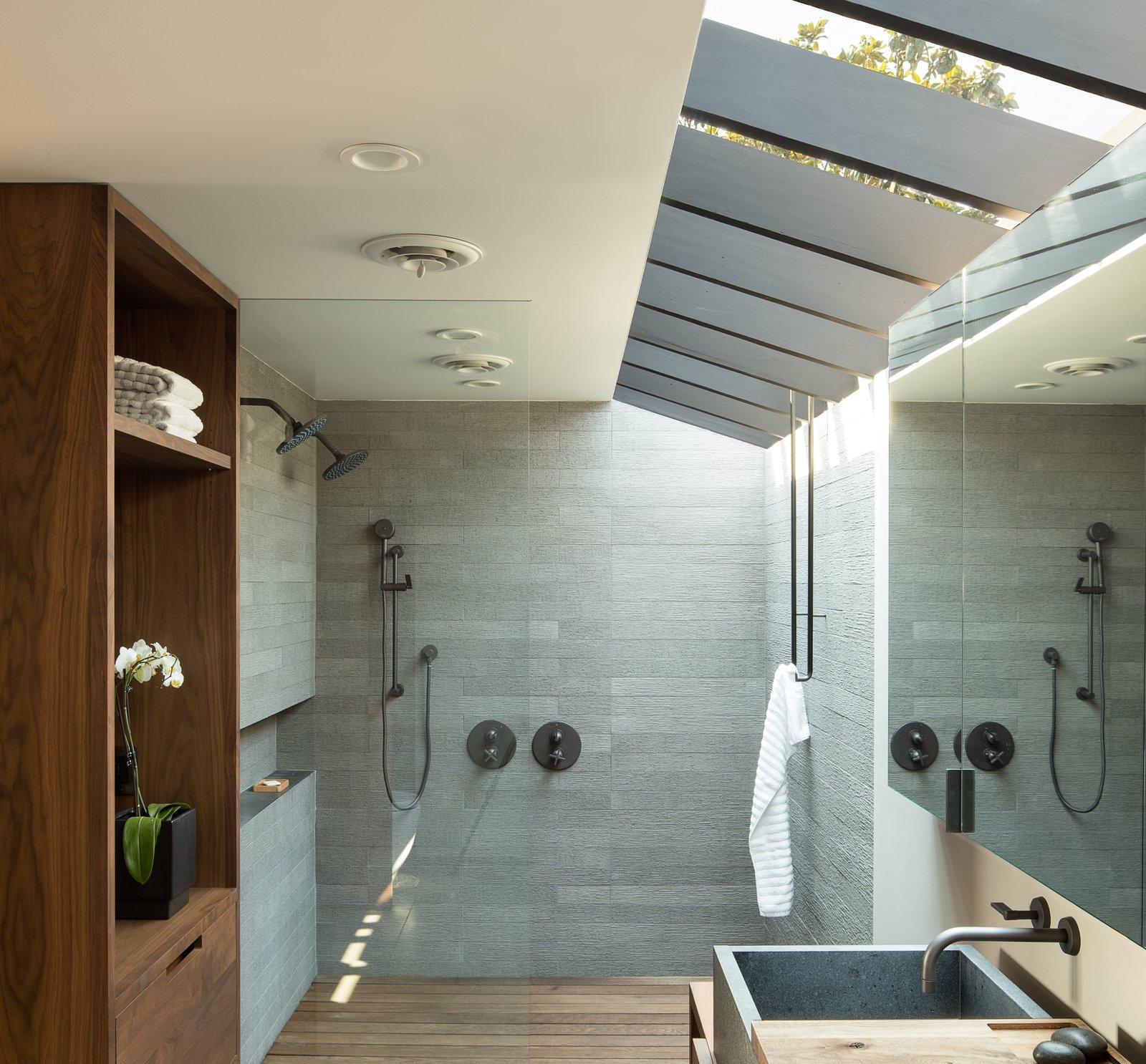 Laurelhurst Residence Tagged: Bath Room, Wood Counter, and Stone Tile Wall.  Laurelhurst Residence by mw|works