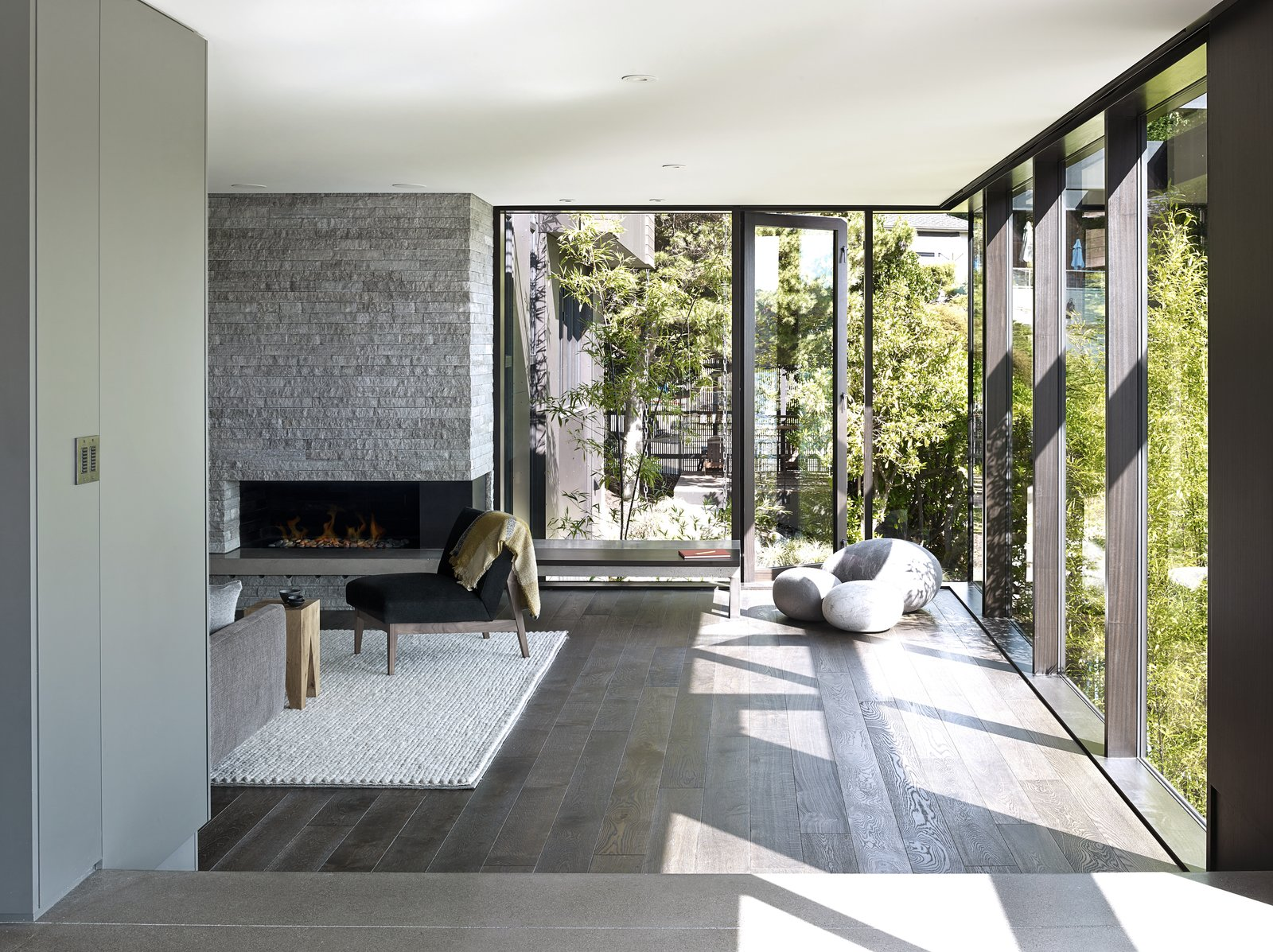 Laurelhurst Residence Tagged: Living Room, Medium Hardwood Floor, and Standard Layout Fireplace.  Laurelhurst Residence by mw works