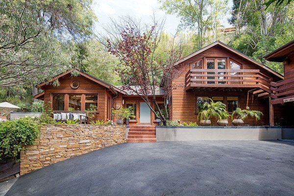 Modern home with outdoor and front yard. Front Entrance Photo  of Cedar Lodge on over a 1/2 Private Acre in Lower Nichols Canyon