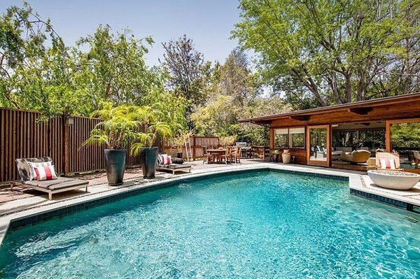 Modern home with outdoor, large pool, and concrete patio, porch, deck. Pool Photo 6 of Cedar Lodge on over a 1/2 Private Acre in Lower Nichols Canyon