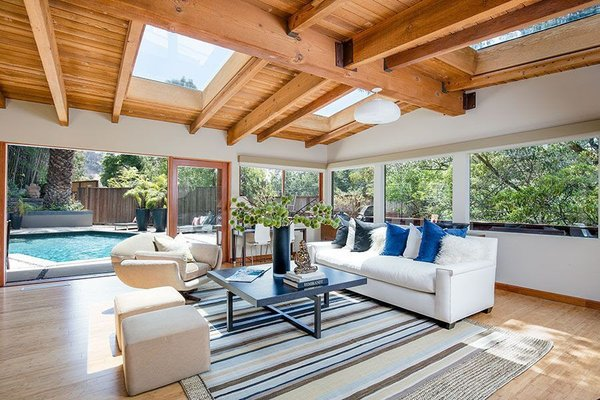 Modern home with living room and light hardwood floor. Pool House Photo 7 of Cedar Lodge on over a 1/2 Private Acre in Lower Nichols Canyon