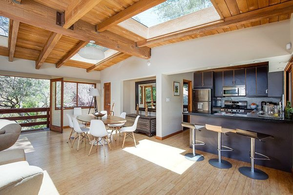 Modern home with living room and light hardwood floor. Pool House Photo 8 of Cedar Lodge on over a 1/2 Private Acre in Lower Nichols Canyon