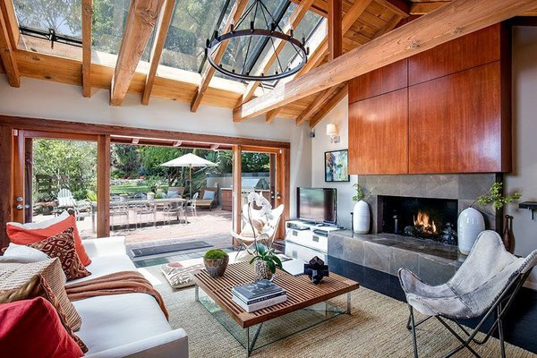 Modern home with living room and gas burning fireplace. Living Room Photo 9 of Cedar Lodge on over a 1/2 Private Acre in Lower Nichols Canyon