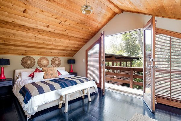 Modern home with bedroom and dark hardwood floor. Bedroom Photo 11 of Cedar Lodge on over a 1/2 Private Acre in Lower Nichols Canyon