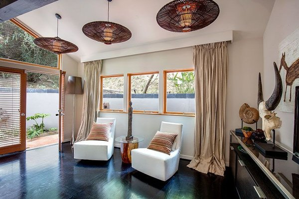 Modern home with bedroom and dark hardwood floor. Master Bedroom Photo 13 of Cedar Lodge on over a 1/2 Private Acre in Lower Nichols Canyon