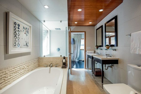 Modern home with bath room, light hardwood floor, and granite counter. Master Bathroom Photo 14 of Cedar Lodge on over a 1/2 Private Acre in Lower Nichols Canyon