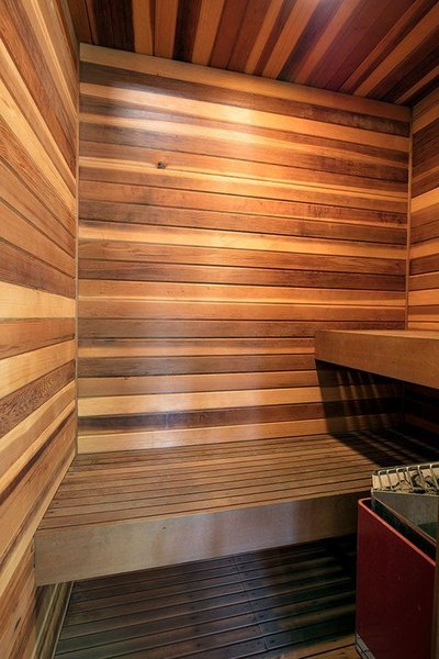 Modern home with bath room and dark hardwood floor. Private Sauna Photo 15 of Cedar Lodge on over a 1/2 Private Acre in Lower Nichols Canyon