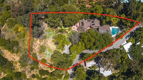 Modern home with outdoor, trees, large pool, and large patio, porch, deck. Aerial View of Property Photo 18 of Cedar Lodge on over a 1/2 Private Acre in Lower Nichols Canyon