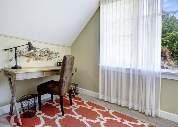 Modern home with office, study, desk, lamps, chair, and carpet floor. Photo 19 of Craftsman Cool
