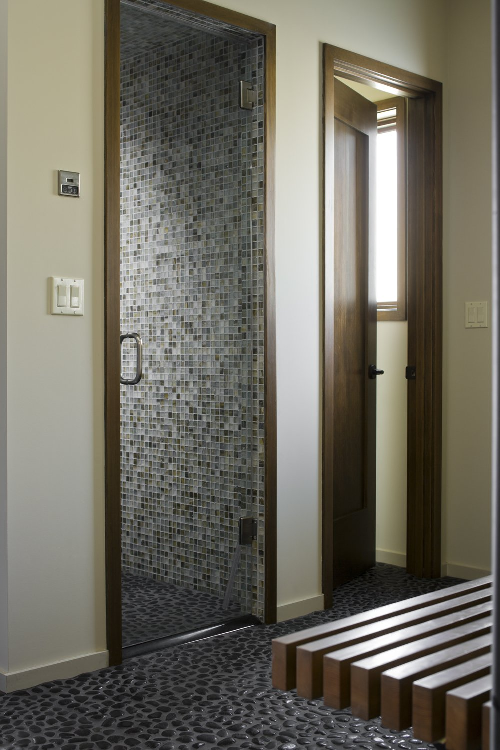 Mountain View Residence Tagged: Bath Room, Enclosed Shower, and Mosaic Tile Wall.  Mountain View Residence by SkB Architects
