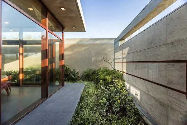 Modern home with outdoor, shrubs, and grass. Outdoor space getting in nature yet securing the house. Photo 2 of The Open house