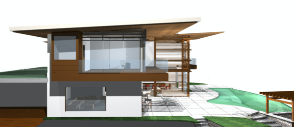 Modern home with outdoor. 3D model drawing Photo 13 of Pacific Breeze house overlooking the Ocean