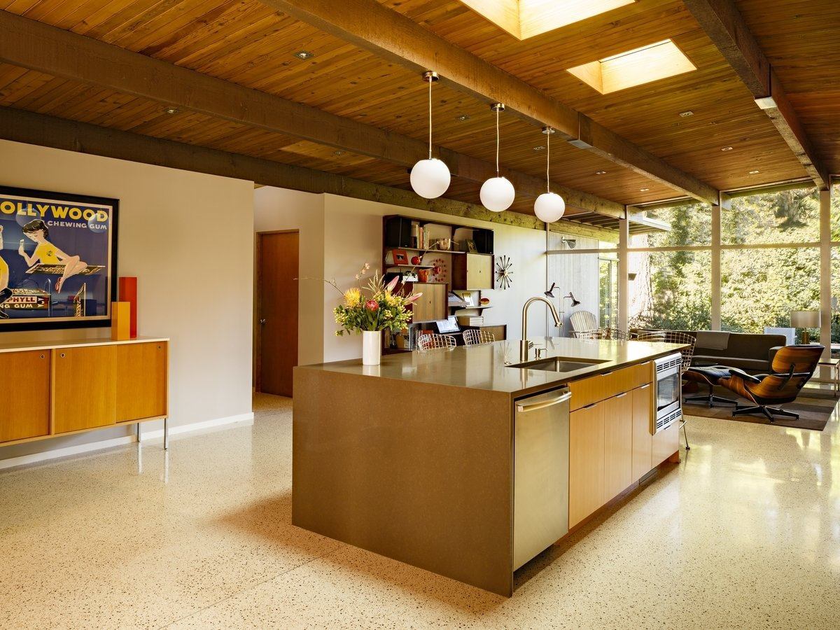 Tagged: Kitchen, Wood, Dishwasher, Microwave, Engineered Quartz, Terrazzo, Ceramic Tile, Ceiling, Pendant, and Undermount.  Best Kitchen Pendant Terrazzo Photos from Nathan