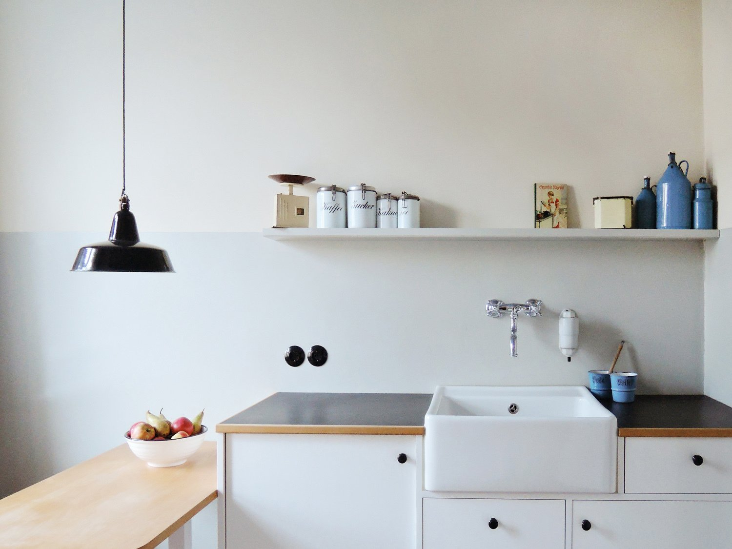 kitchen design, modern comfort hidden + fully applicable Tagged: Kitchen, Laminate, White, Wood, Pendant, Track, Accent, Refrigerator, and Dishwasher.  Best Kitchen White Track Photos from Taut´s Home (Tautes Heim) - Rentable museum of design and architecture of the 1920s
