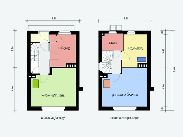 floor layout + color scheme Photo  of Taut´s Home (Tautes Heim) - Rentable museum of design and architecture of the 1920s modern home