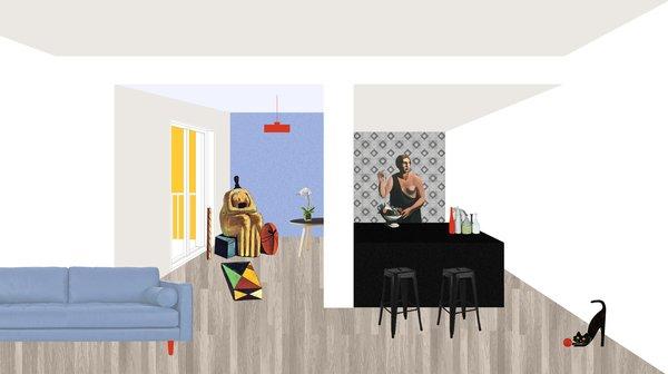 Modern home with kitchen, light hardwood floor, ceramic tile floor, ceramic tile backsplashe, engineered quartz counter, and white cabinet. Photo  of CASA LC