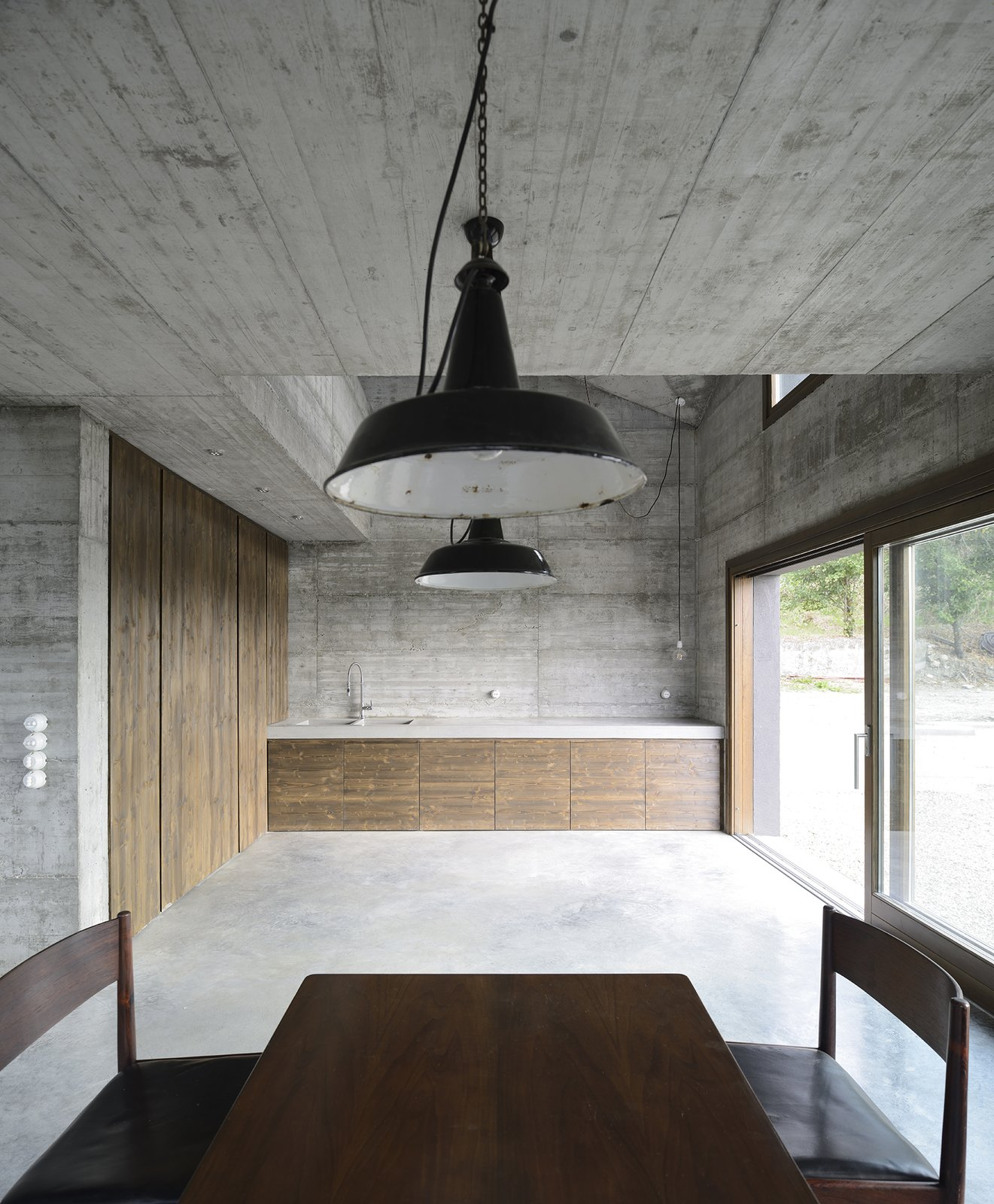 Tagged: Kitchen, Wood Counter, Concrete Counter, Concrete Floor, Table Lighting, Pendant Lighting, Ceiling Lighting, and Dishwasher.  HOUSE R by 35astudio