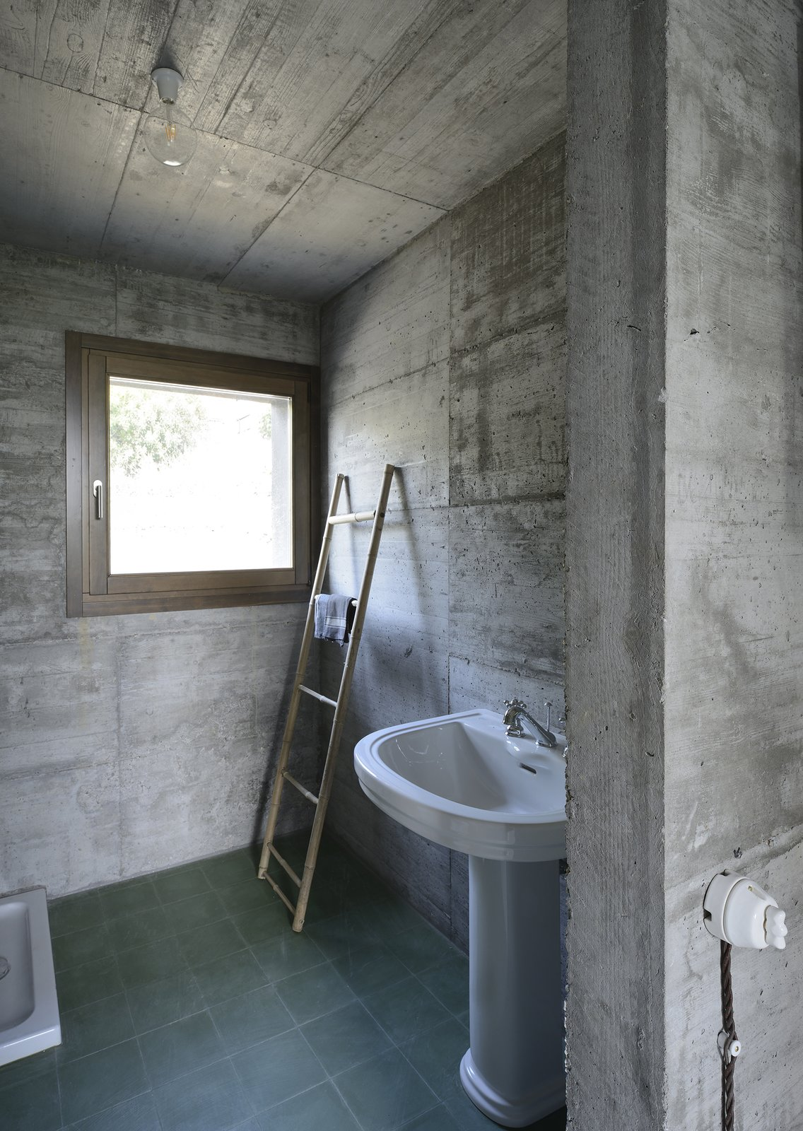 Tagged: Bath Room, Concrete Counter, Stone Counter, Wood Counter, Concrete Floor, Freestanding Tub, Open Shower, Ceiling Lighting, Concrete Wall, and Two Piece Toilet.  HOUSE R by 35astudio