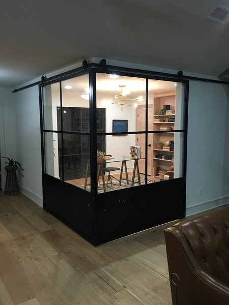 Modern home with office and study. Steel Sliding doors by Anderson Glass Photo 2 of The Steel Sliders