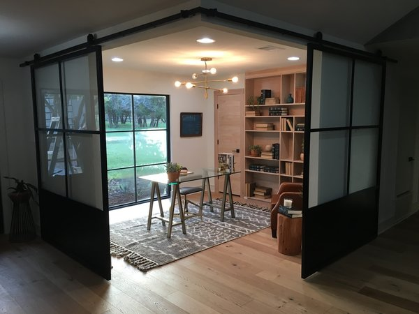Modern home with office and study. Sliding steel wall panels by Anderson Glass Photo 3 of The Steel Sliders