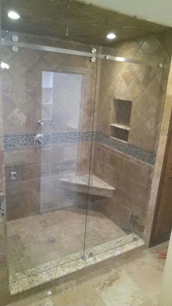 modern home with bath room and enclosed shower skyline series sliding shower enclosure by anderson