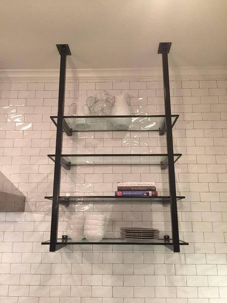 Modern home with kitchen, metal cabinet, and subway tile backsplashe. Kitchen Shelving with black steel brackets with glass shelves Photo 7 of Shelving Units