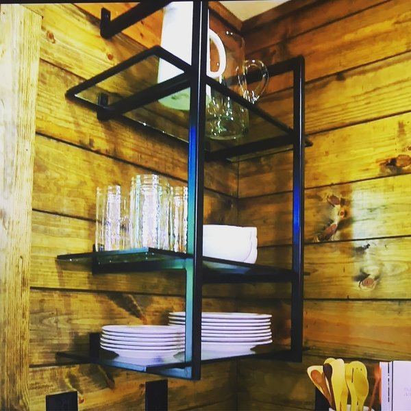 Modern home with kitchen, metal cabinet, and wood backsplashe. Open Shelving for a Kitchen Photo 8 of Shelving Units