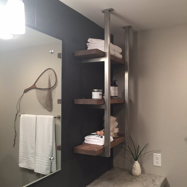 Modern home with bath room. Stainless Steel Shelving with wood shelves Photo 12 of Shelving Units