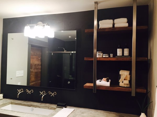 Modern home with bath room. Stainless Steel Brackets with Wood Shelves by Anderson Glass Photo 13 of Shelving Units