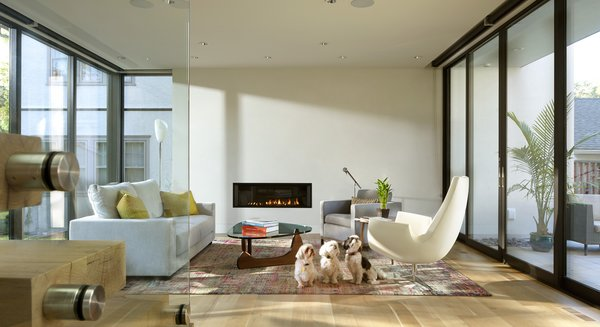 Modern home with gas burning fireplace, ceiling lighting, chair, light hardwood floor, staircase, wood tread, and glass railing. Photo 7 of Sheridan Residence