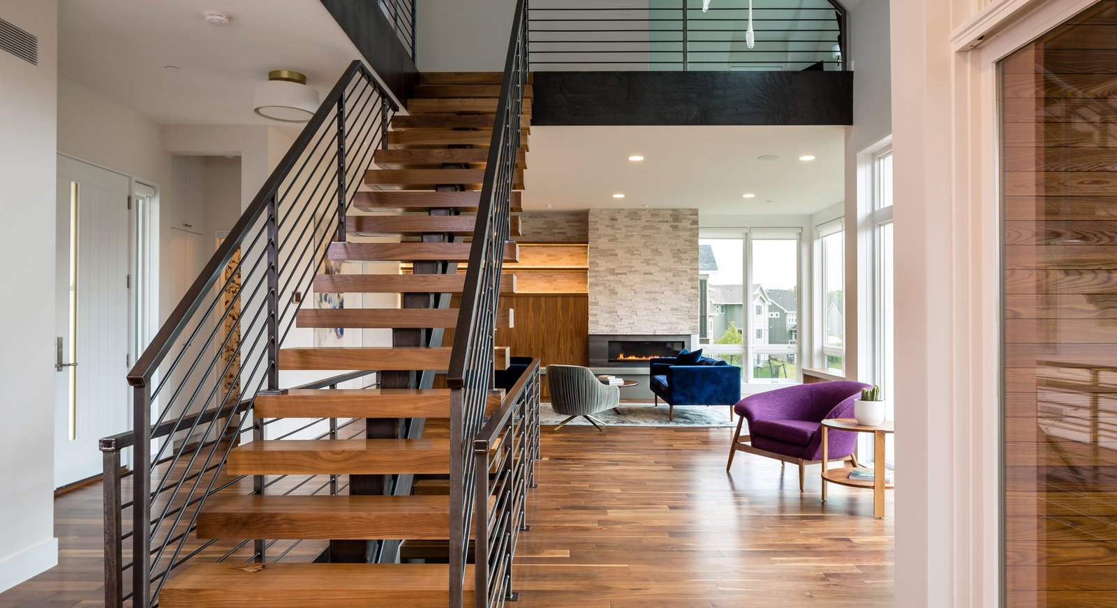 Tagged: Medium Hardwood, Chair, Staircase, Gas Burning, Sofa, Corner, Wood, Metal, and Metal.  Best Staircase Medium Hardwood Chair Photos from Credit River Residence