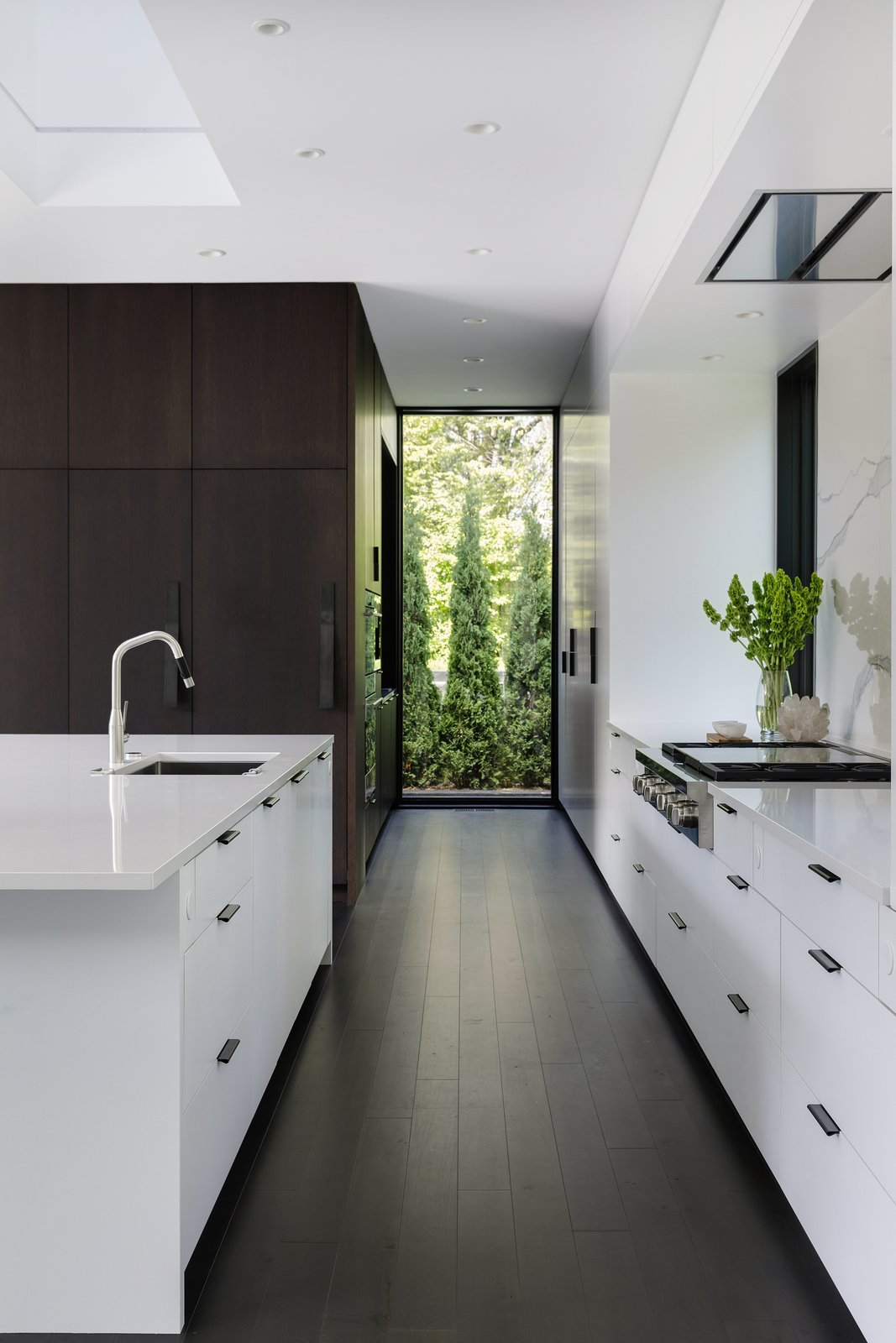 Tagged: Kitchen, Engineered Quartz, White, Wood, Dark Hardwood, Stone Slab, Ceiling, Refrigerator, Wall Oven, Cooktops, and Undermount.  Best Kitchen Wall Oven Dark Hardwood Photos from Huntington Residence