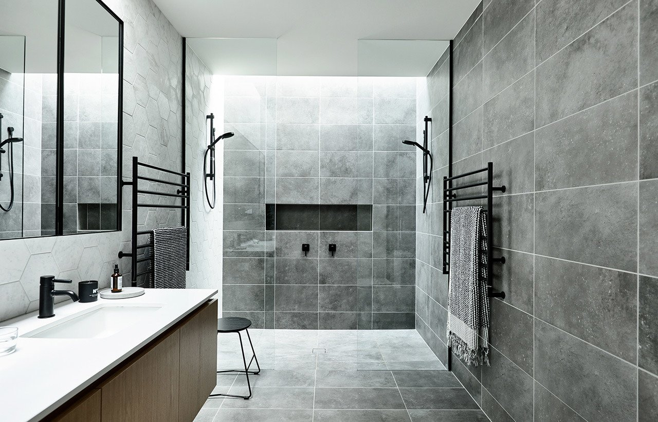 Tagged: Bath Room, Open Shower, and Ceramic Tile Floor.  Brighton 5 by InForm by Lucinda McKimm