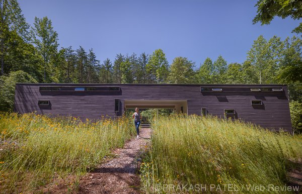 "Modern home with outdoor, slope, woodland, field, front yard, trees, grass, and small patio, porch, deck. HEDS developed a modern interpretation of the southern ""dogtrot"" house with a covered terrace between the public and private sides of the house.   Photo 2 of Dogtrot at Stony Point"