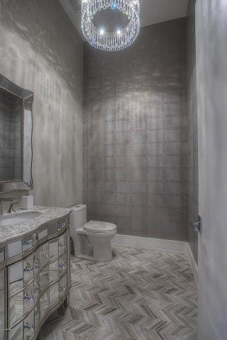Modern home with bath room, ceramic tile floor, marble counter, undermount sink, ceiling lighting, recessed lighting, and one piece toilet. Fanfal Guest Bathroom Photo 6 of Fanfol House