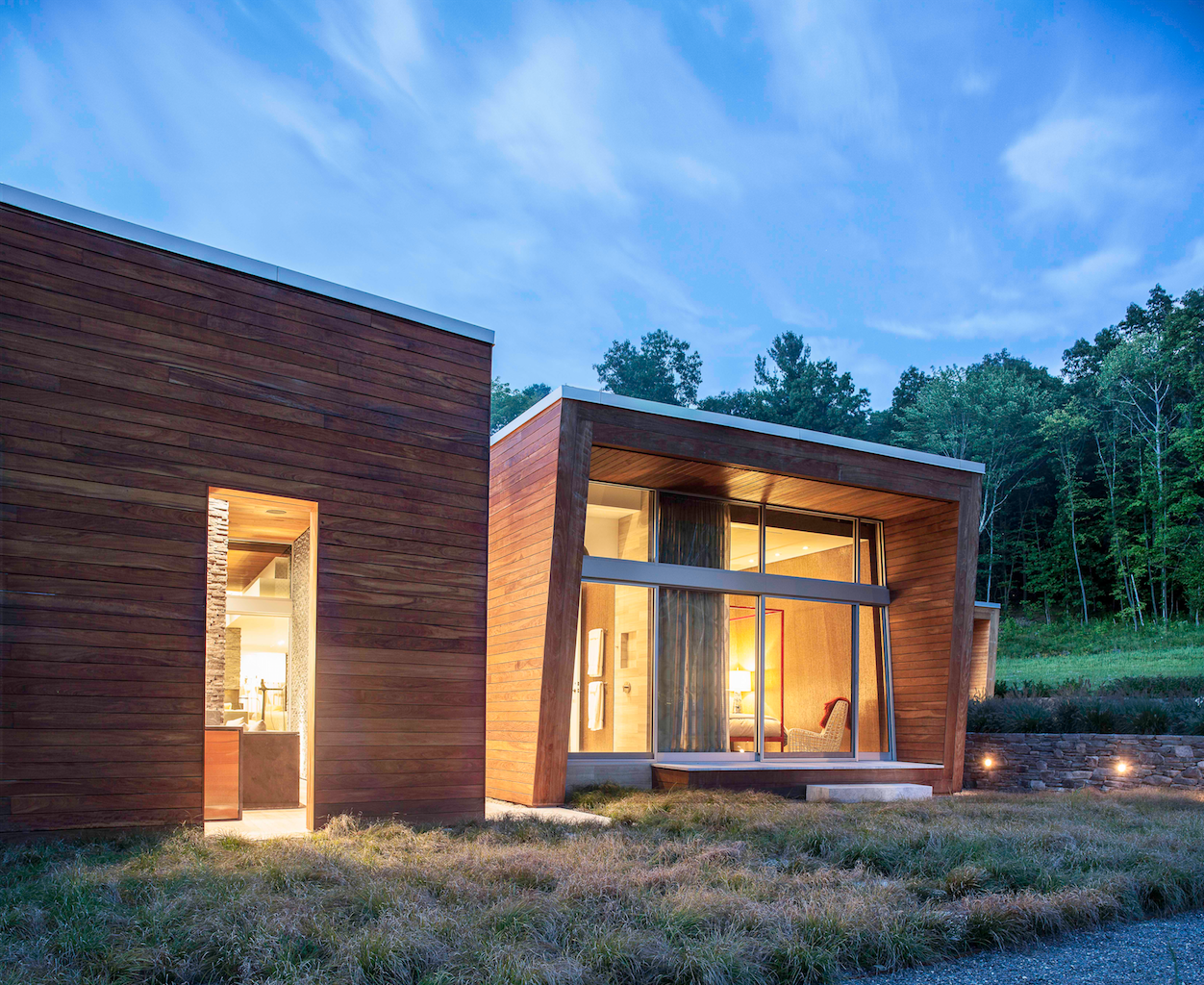 Tagged: Side Yard, Outdoor, Outdoor, Shrubs, Grass, and Landscape Lighting.  Taghkanic House by Hariri & Hariri Architecture
