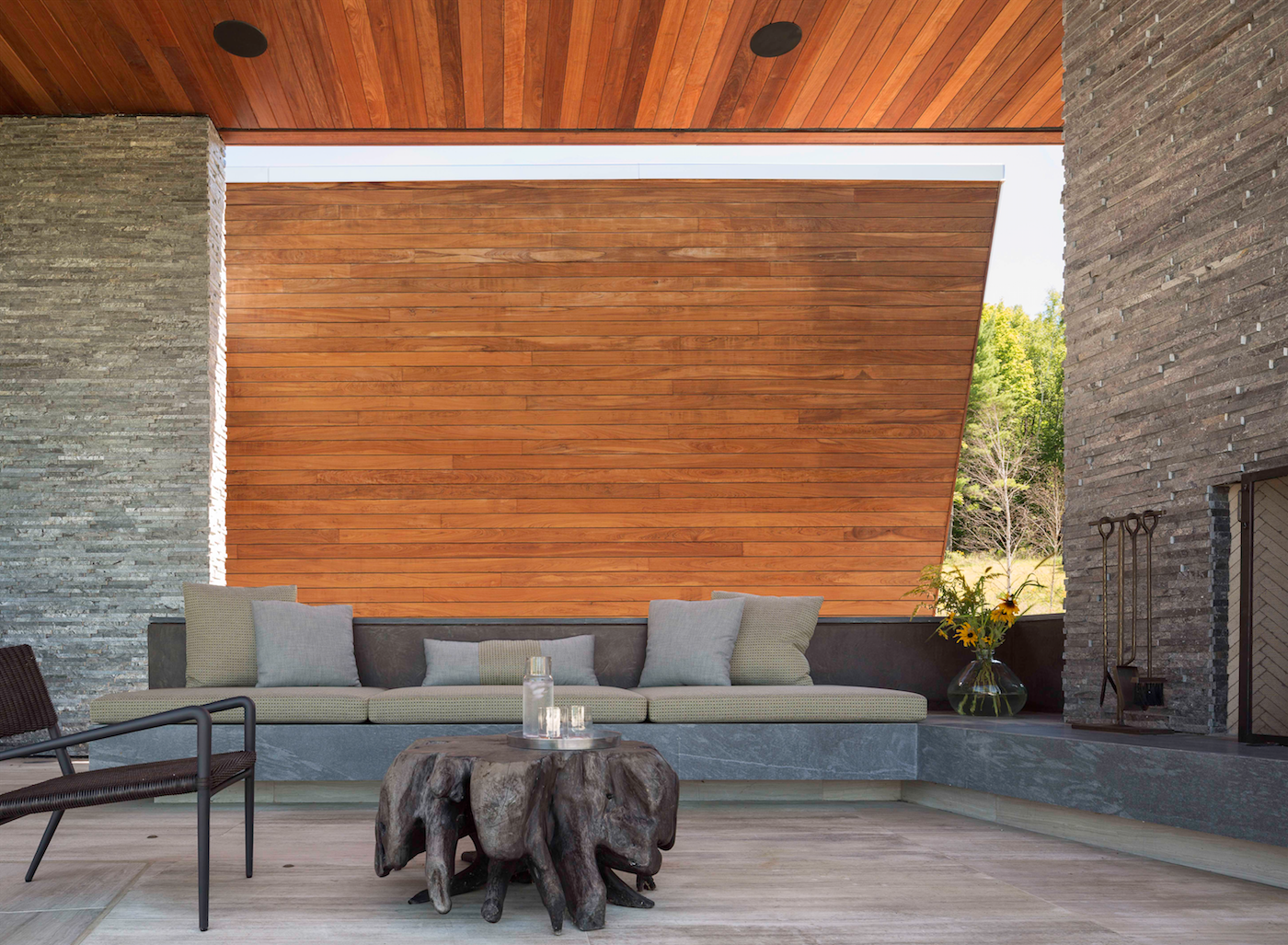 Tagged: Outdoor, Back Yard, and Wood Patio, Porch, Deck.  Taghkanic House by Hariri & Hariri Architecture