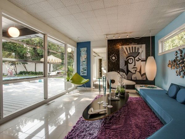 Modern home with living room. Photo 18 of Candy-Colored Mid-Century Modern Throwback