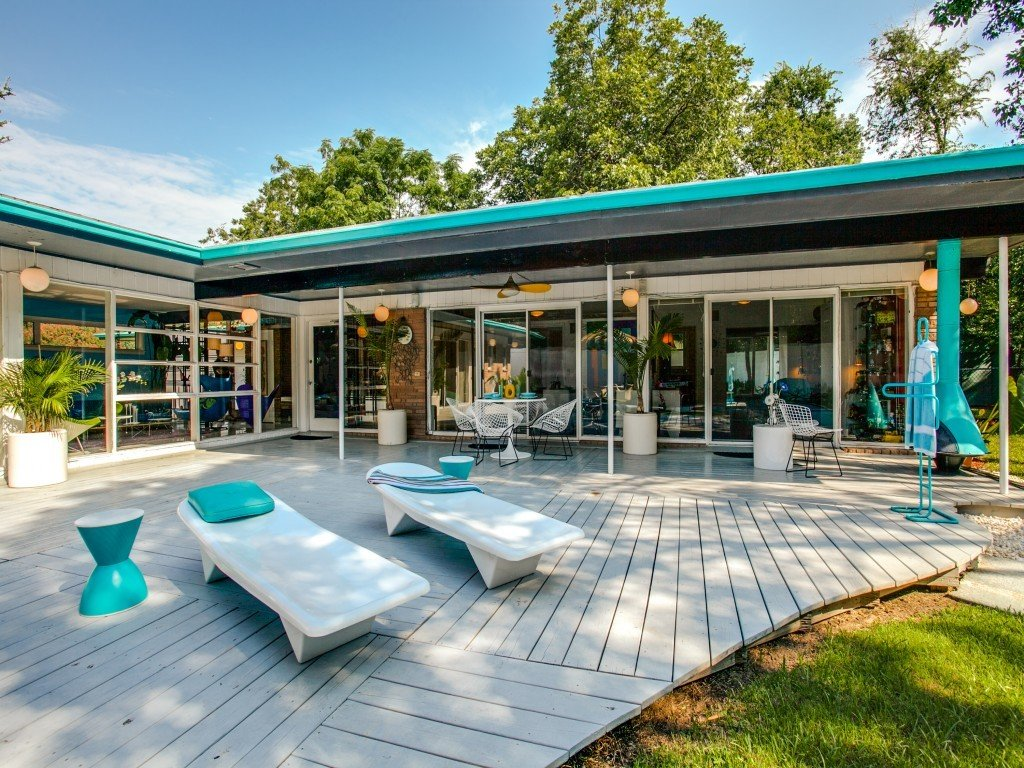 Tagged: Outdoor, Trees, Large Patio, Porch, Deck, Back Yard, and Wood Patio, Porch, Deck.  Candy-Colored Mid-Century Modern Throwback by Zillow