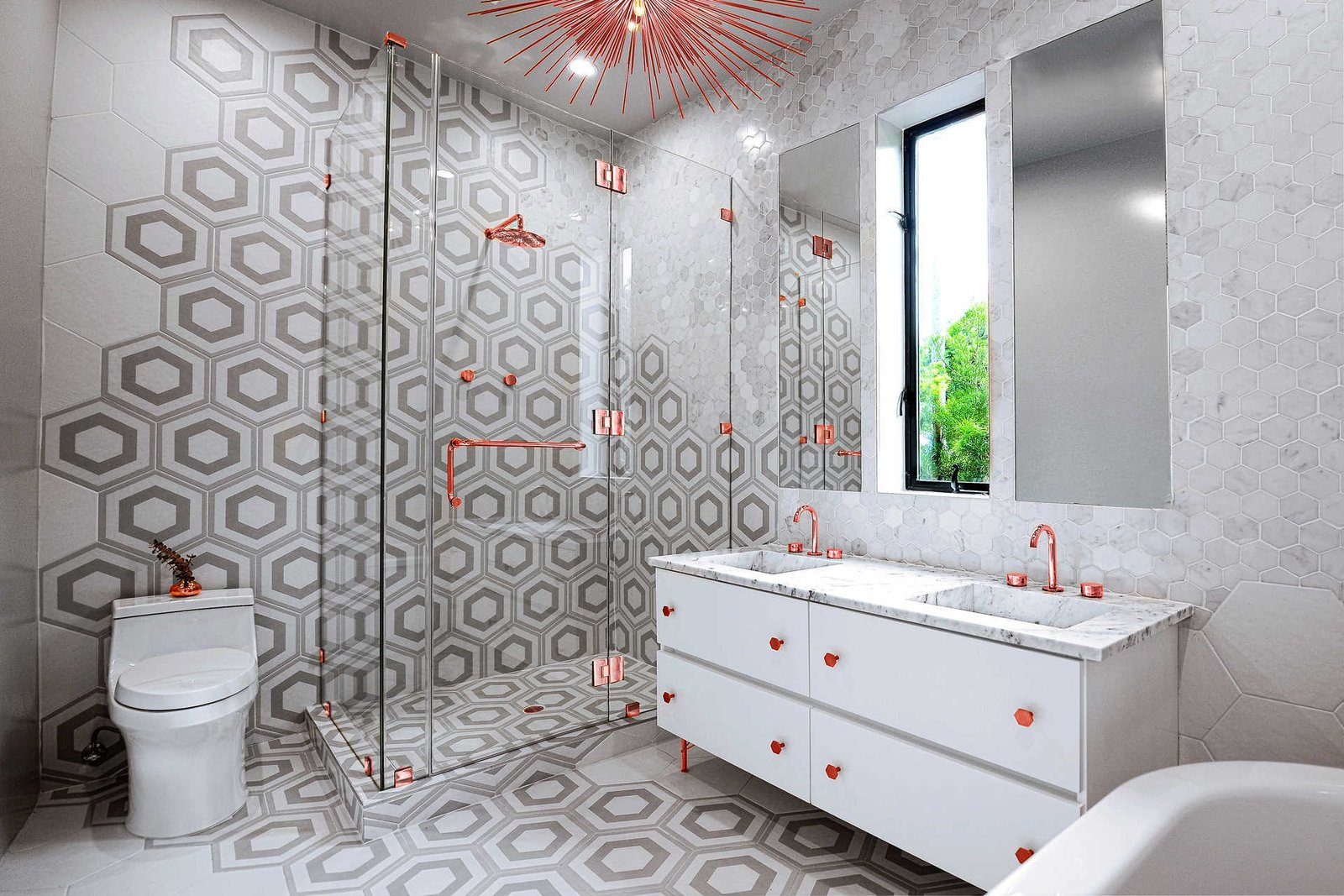 Tagged: Bath Room, Enclosed Shower, Ceiling Lighting, Drop In Sink, Corner Shower, Ceramic Tile Floor, Marble Counter, Ceramic Tile Wall, and Two Piece Toilet.  Italian Modernist Home by Zillow