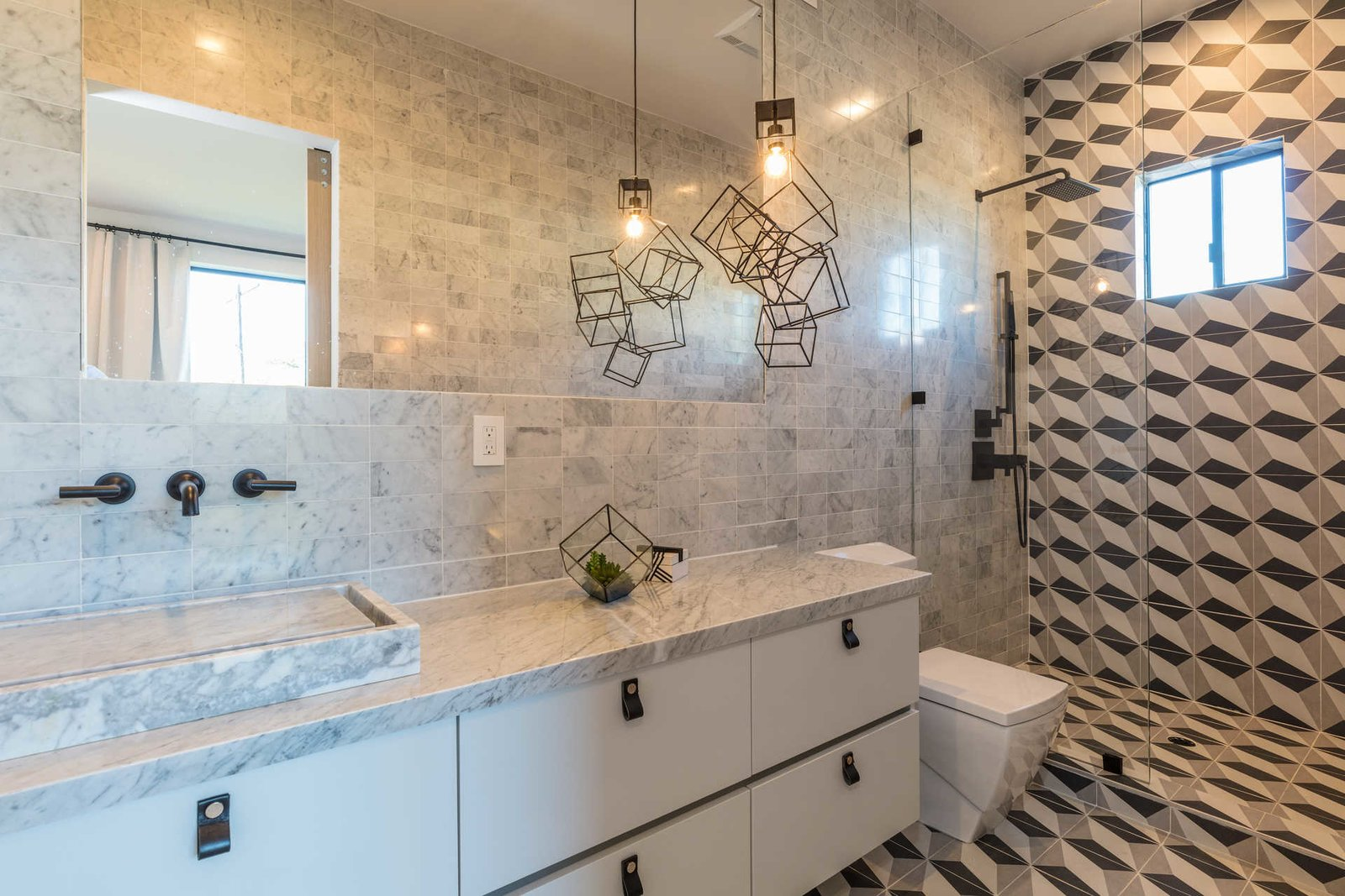 Tagged: Bath Room, One Piece Toilet, Ceiling Lighting, Pendant Lighting, Corner Shower, and Enclosed Shower.  Italian Modernist Home by Zillow